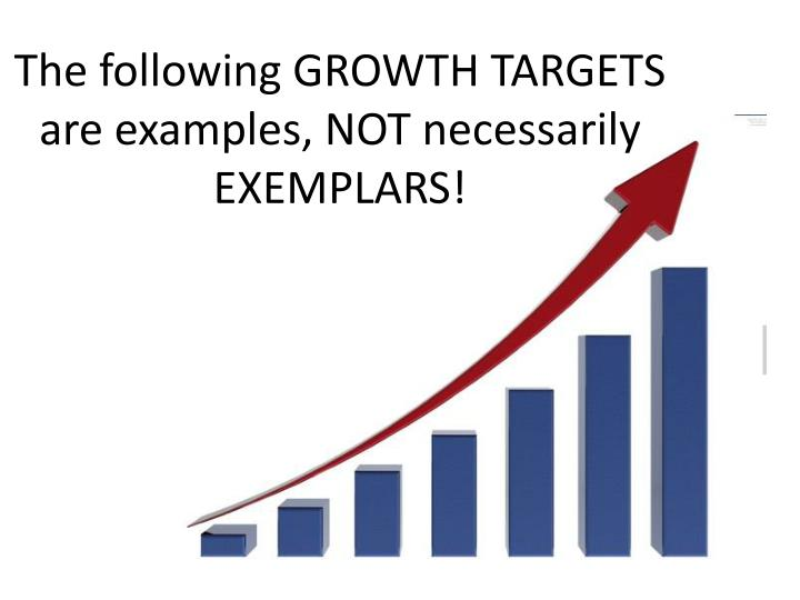 The following GROWTH TARGETS are examples, NOT necessarily EXEMPLARS!