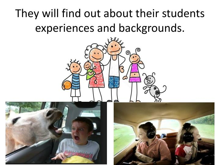 They will find out about their students experiences and backgrounds.