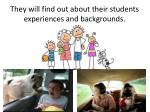 they will find out about their students experiences and backgrounds