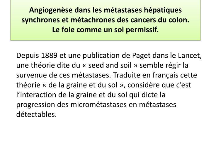 Angiogenèse dans les métastases hépatiques synchrones et