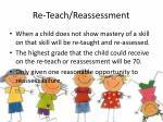 re teach reassessment