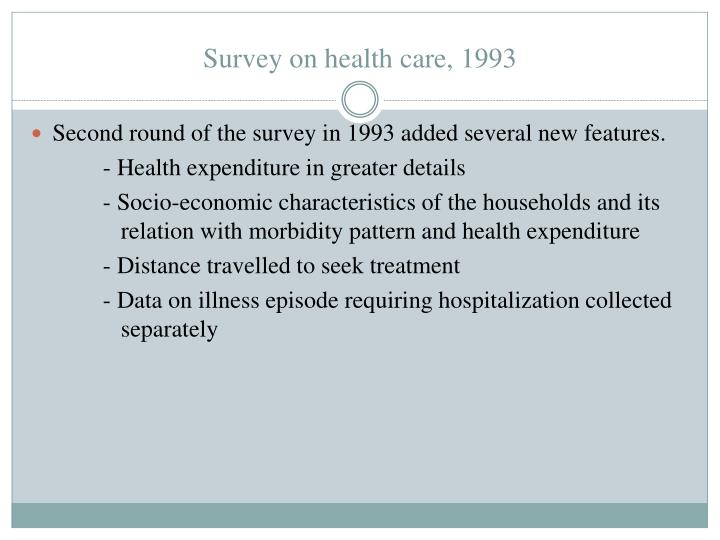 Survey on health care, 1993