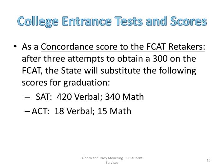 College Entrance Tests and Scores