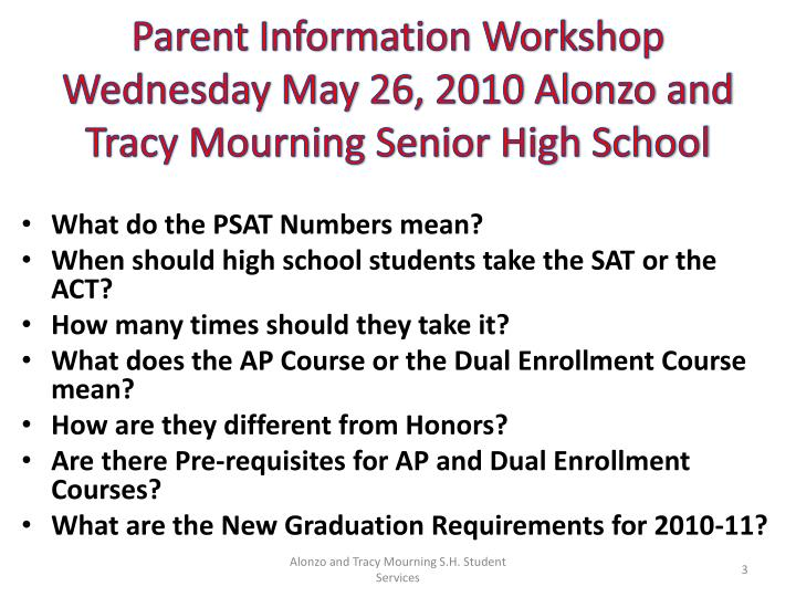 Parent Information Workshop