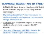psat nmsqt results how can it help
