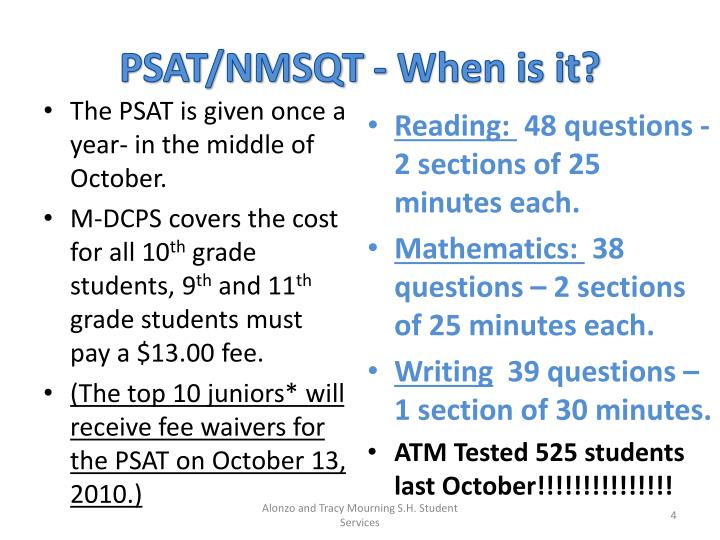 PSAT/NMSQT - When is it?