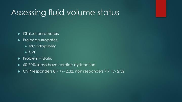 Assessing fluid volume status
