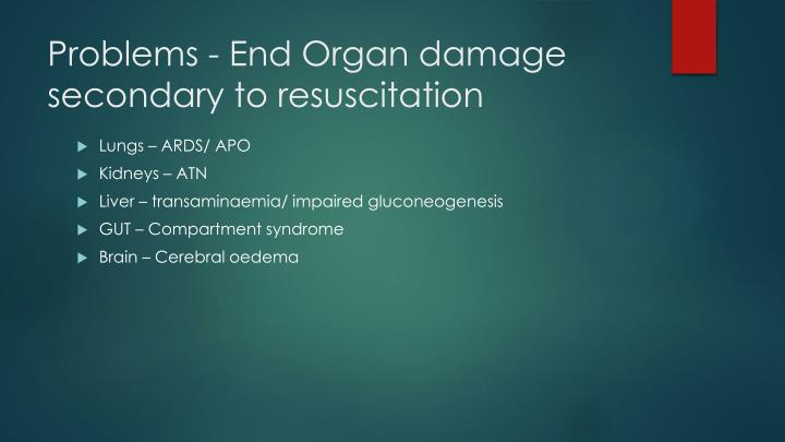 Problems - End Organ damage secondary to resuscitation