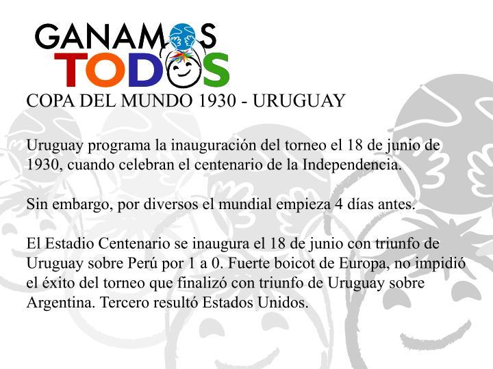COPA DEL MUNDO 1930 - URUGUAY
