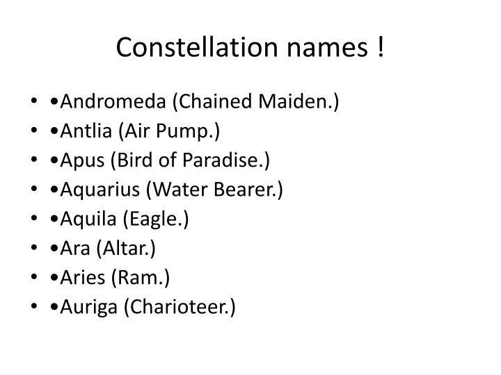 Constellation names !