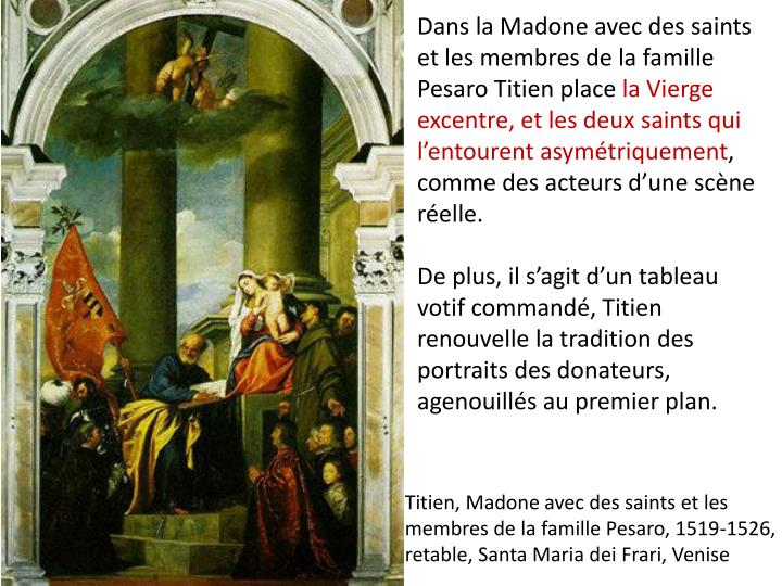 Dans la Madone avec des saints et les membres de la famille Pesaro Titien place