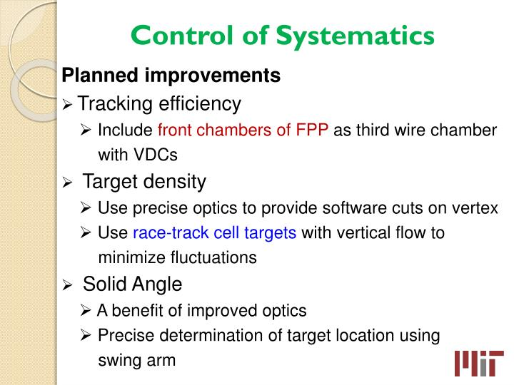Control of Systematics
