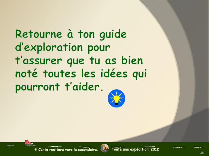 Retourne à ton guide d'exploration pour t'assurer que tu as bien noté toutes les idées qui pourront t'aider.