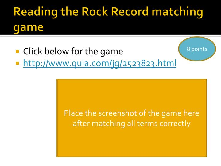 Reading the Rock Record matching game