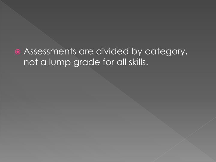 Assessments are divided by category, not a lump grade for all skills.