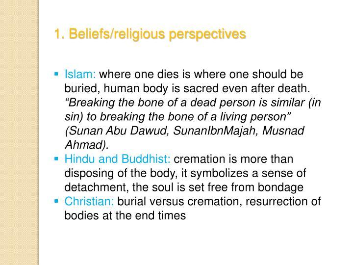 1. Beliefs/religious perspectives