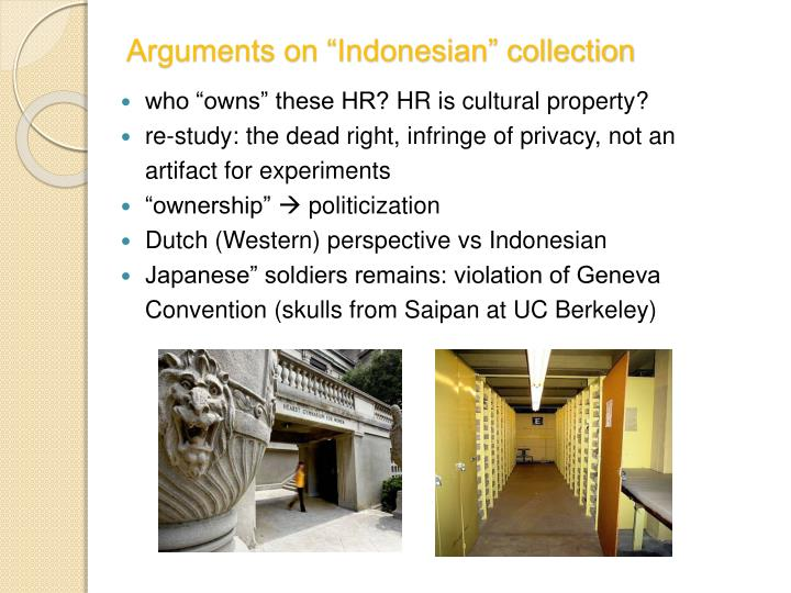 "Arguments on ""Indonesian"" collection"