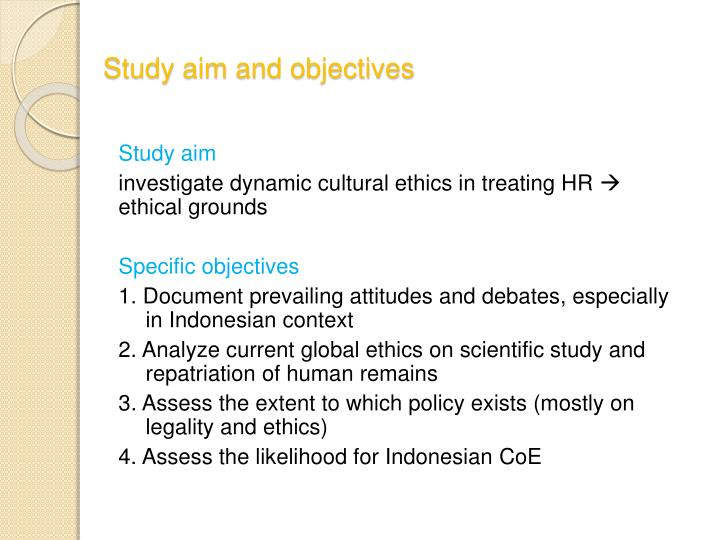 Study aim and objectives