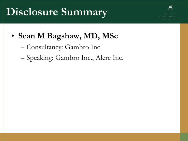 Disclosure Summary