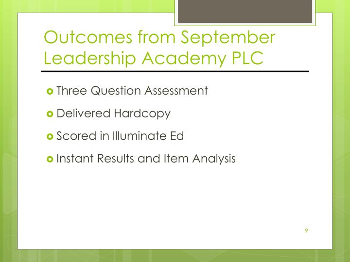 Outcomes from September Leadership Academy PLC