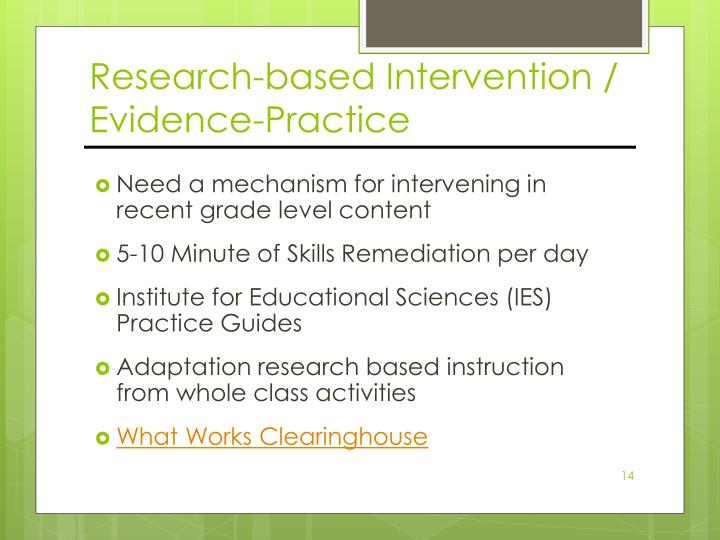 Research-based Intervention / Evidence-Practice