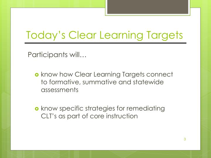 Today's Clear Learning Targets