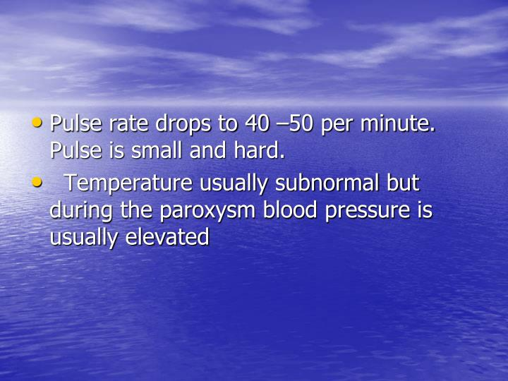 Pulse rate drops to 40 –50 per minute.  Pulse is small and hard.