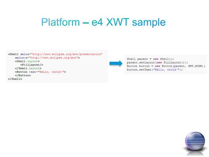 Platform – e4 XWT sample