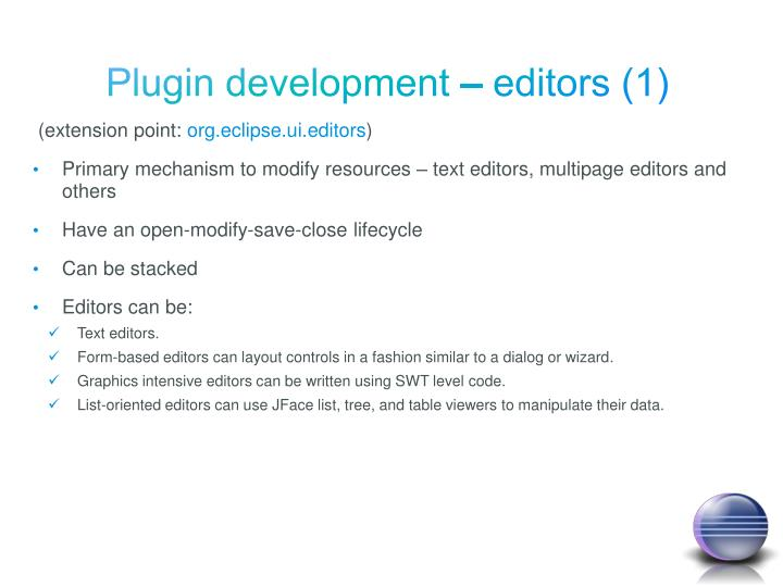Plugin development – editors (1)