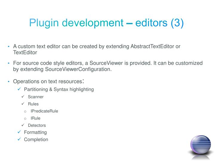 Plugin development – editors (3)