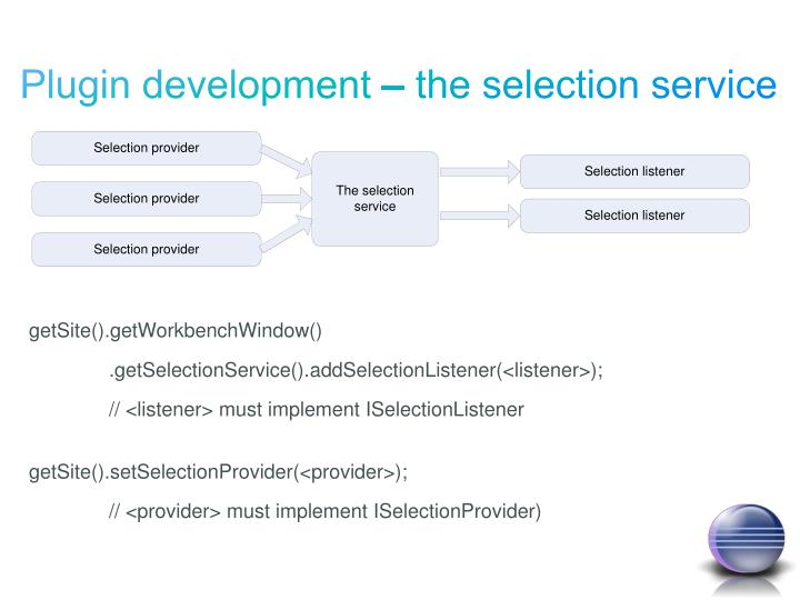 Plugin development – the selection service