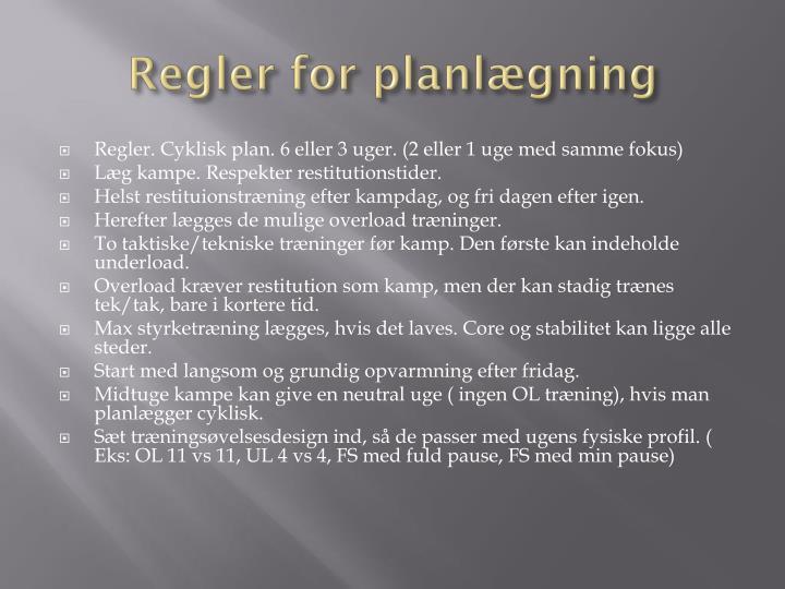 Regler for planlægning