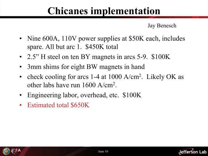 Chicanes implementation