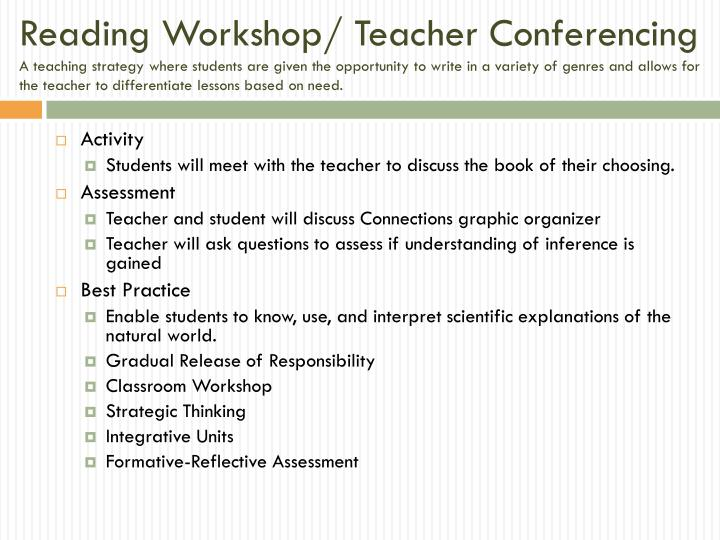 Reading Workshop/ Teacher Conferencing
