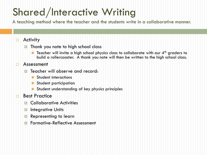 Shared/Interactive Writing