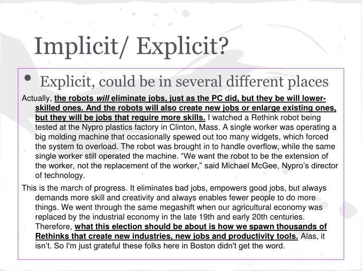 Implicit/ Explicit?