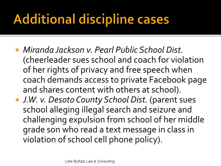Additional discipline cases