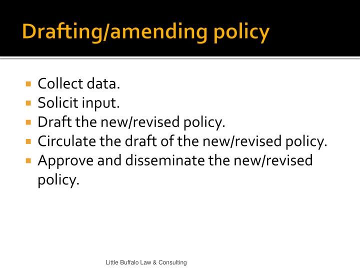 Drafting/amending policy