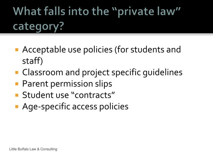 "What falls into the ""private law"" category?"