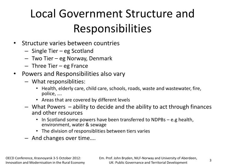 Local Government Structure and Responsibilities