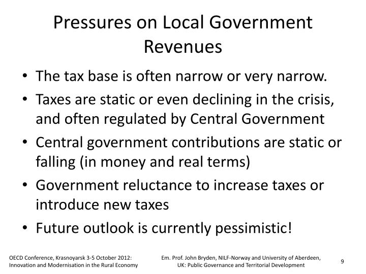 Pressures on Local Government Revenues