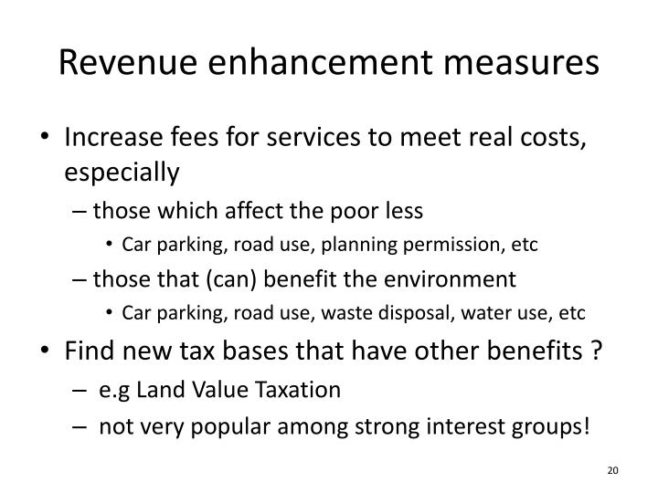 Revenue enhancement measures