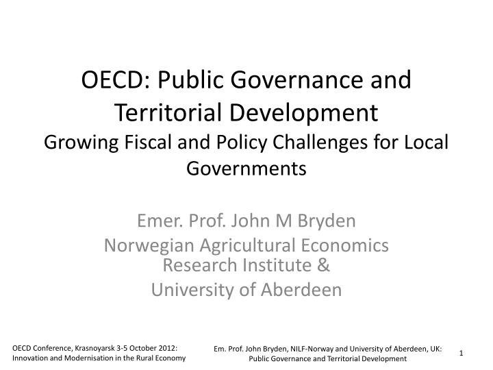 OECD: Public Governance and Territorial Development