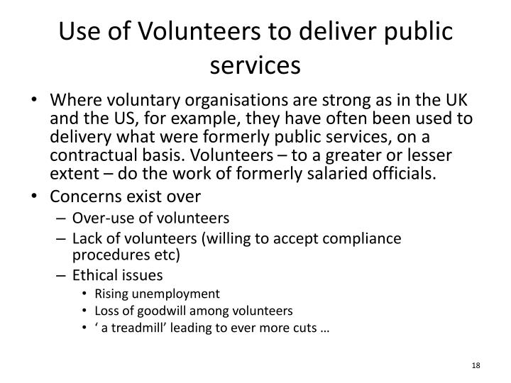 Use of Volunteers to deliver public services