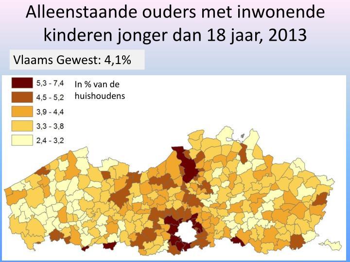 Alleenstaande ouders met inwonende kinderen jonger dan 18 jaar, 2013