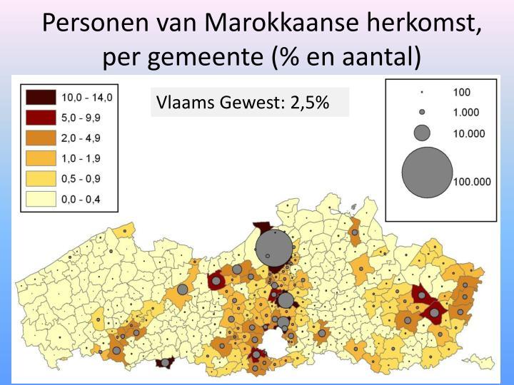 Personen van Marokkaanse herkomst, per gemeente (% en aantal)