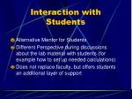 interaction with students