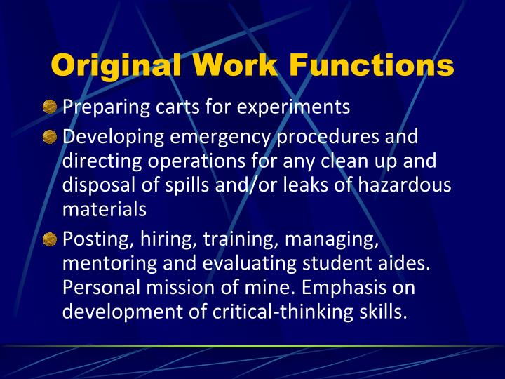 Original Work Functions