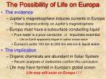 the possibility of life on europa