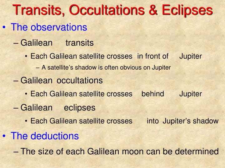 Transits, Occultations & Eclipses
